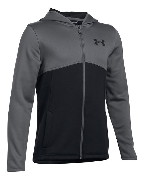 Under Armour Boys Armour Fleece Full Zip Half-Zips & Hoodies Technical Tops - Black/Graphite YXL