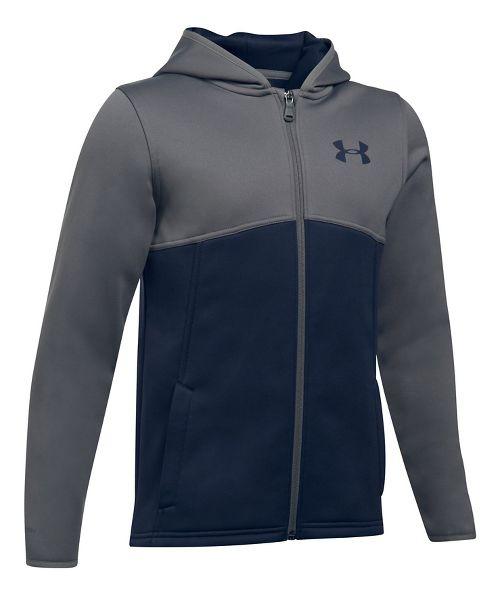 Boys Armour Fleece Full Zip Half-Zips & Hoodies Technical Tops - Navy/Graphite YXS