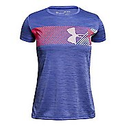 Under Armour Girls Hybrid Big Logo Tee Short Sleeve Technical Tops - Constellation Purple YS
