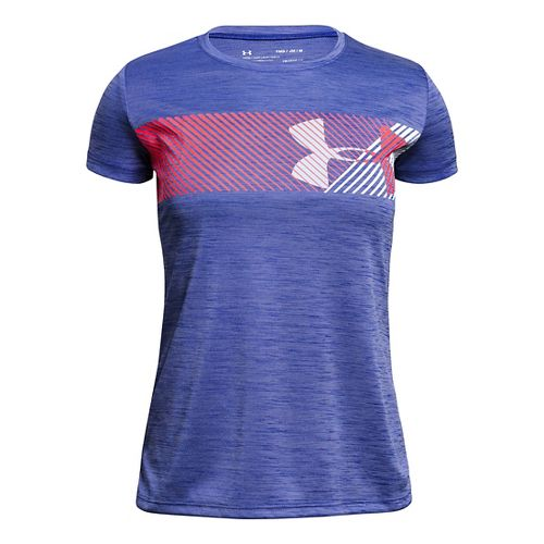 Under Armour Girls Hybrid Big Logo Tee Short Sleeve Technical Tops - Constellation Purple YL