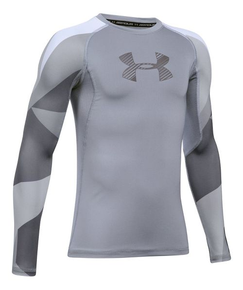 Under Armour Boys HeatGear Novelty Long Sleeve Technical Tops - Steel YM