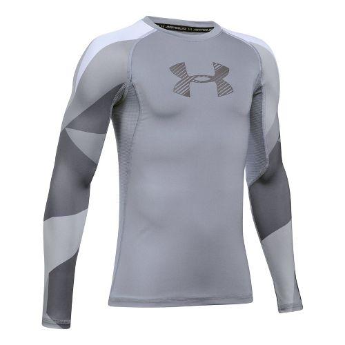 Under Armour Boys HeatGear Novelty Long Sleeve Technical Tops - Steel YXS