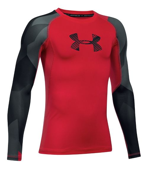 Under Armour Boys HeatGear Novelty Long Sleeve Technical Tops - Red YXS