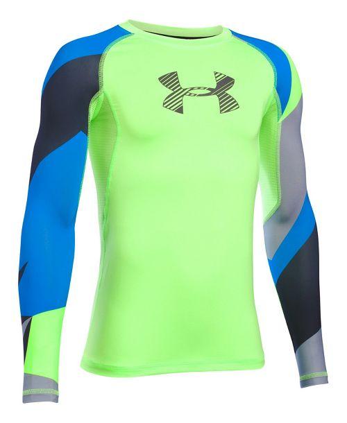 Under Armour Boys HeatGear Novelty Long Sleeve Technical Tops - Quirky Lime YXL