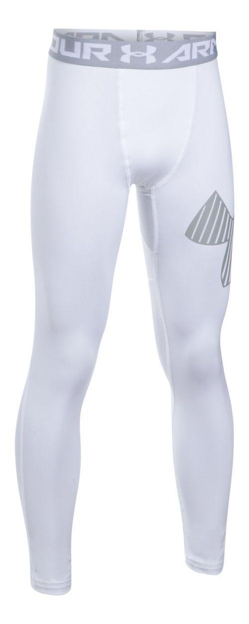Under Armour Boys Logo Legging  Tights - White/Grey YS