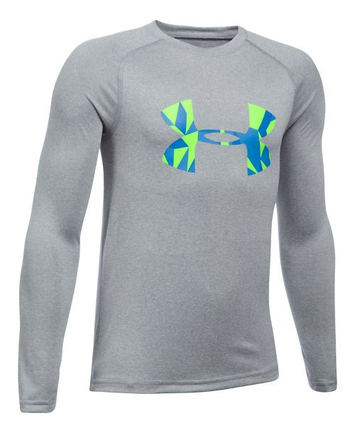 Under Armour Boys Big Logo Tee Long Sleeve Technical Tops - Heather/Lime YXL