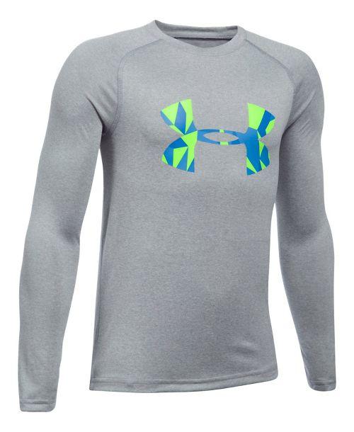 Under Armour Boys Big Logo Tee Long Sleeve Technical Tops - Heather/Lime YXS