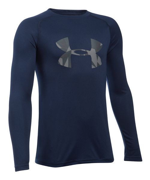 Under Armour Boys Big Logo Tee Long Sleeve Technical Tops - Navy/Steel YL