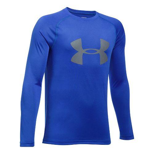 Under Armour Boys Big Logo Tee Long Sleeve Technical Tops - Ultra Blue/Graphite YS