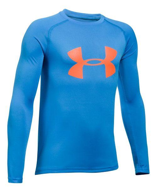 Under Armour Boys Big Logo Tee Long Sleeve Technical Tops - Mako Blue/Orange YXL