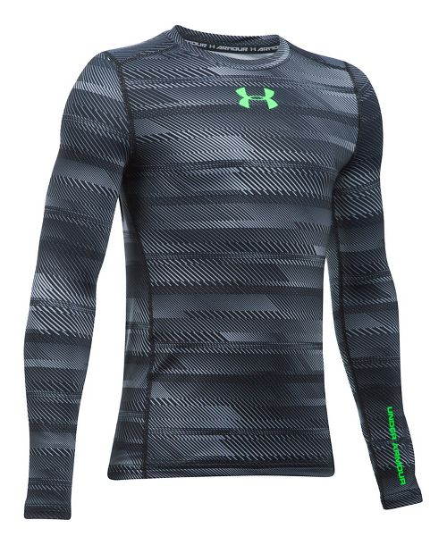 Under Armour Boys ColdGear Novelty Crew Long Sleeve Technical Tops - Black/Lime Twist YM