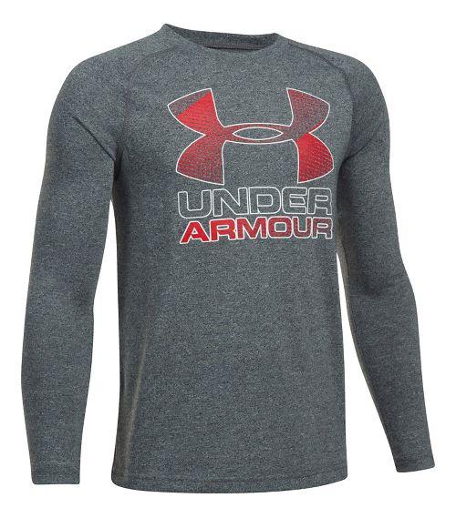 Under Armour Hybrid Big Logo Tee Long Sleeve Technical Tops - Black/Red YL