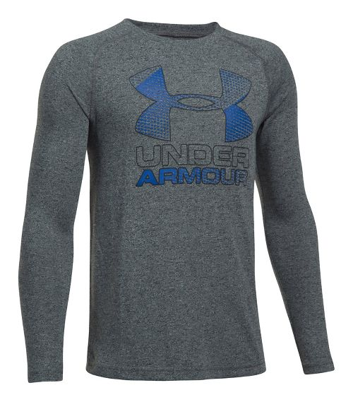 Under Armour Hybrid Big Logo Tee Long Sleeve Technical Tops - Black/Blue YXS