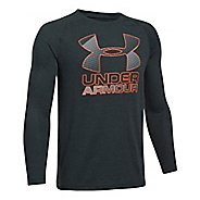 Under Armour Hybrid Big Logo Tee Long Sleeve Technical Tops - Anthracite/Graphite YM