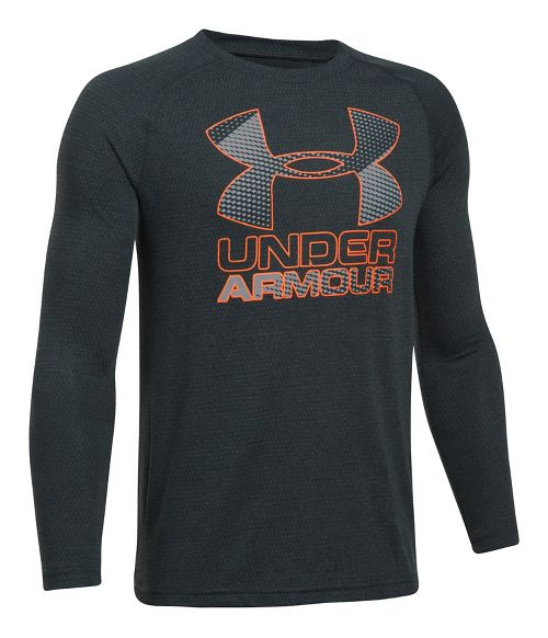 Under Armour Hybrid Big Logo Tee Long Sleeve Technical Tops - Anthracite/Graphite YXS