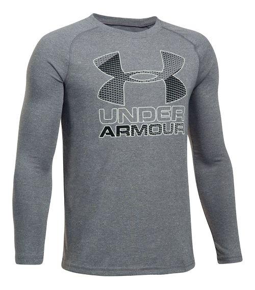 Under Armour Hybrid Big Logo Tee Long Sleeve Technical Tops - Graphite/Black YXS