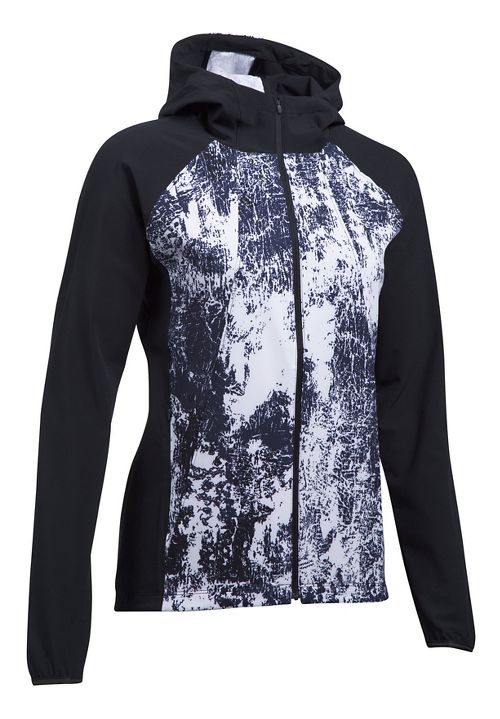Womens Under Armour Outrun The Storm Printed Running Jackets - Black/White L