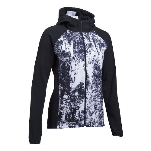 Womens Under Armour Outrun The Storm Printed Running Jackets - Black/White XL