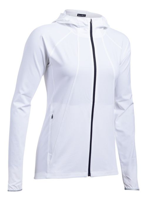 Womens Under Armour Outrun The Storm Running Jackets - White XS