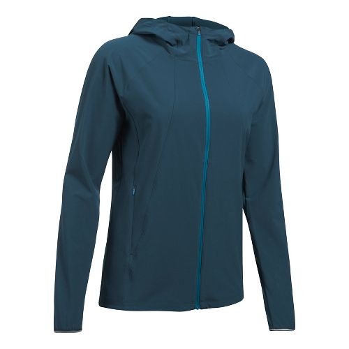 Womens Under Armour Outrun The Storm Running Jackets - True Ink L