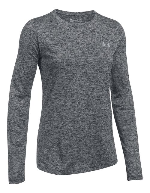 Womens Under Armour Tech Crew Twist Long Sleeve Technical Tops - Black L