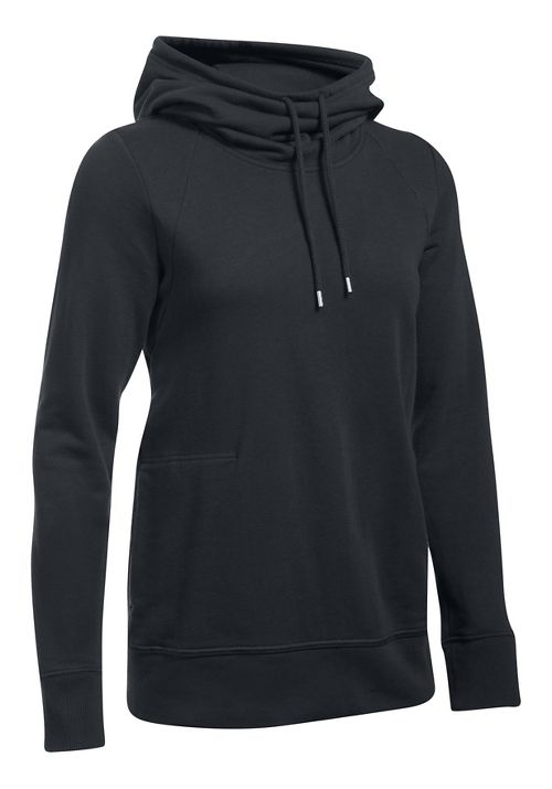 Womens Under Armour French Terry Open Back Half-Zips & Hoodies Technical Tops - Black S