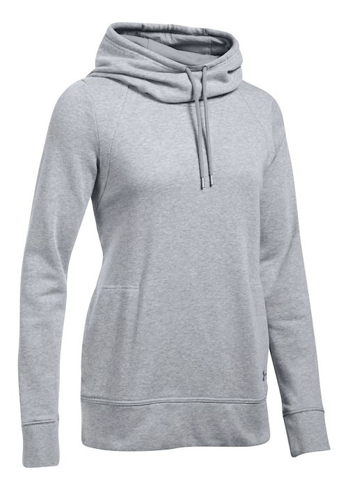 Womens Under Armour French Terry Open Back Half-Zips & Hoodies Technical Tops - True Grey ...