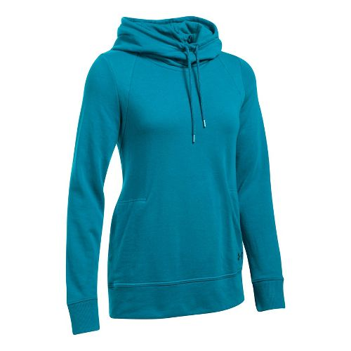 Womens Under Armour French Terry Open Back Half-Zips & Hoodies Technical Tops - Bayou Blue XL