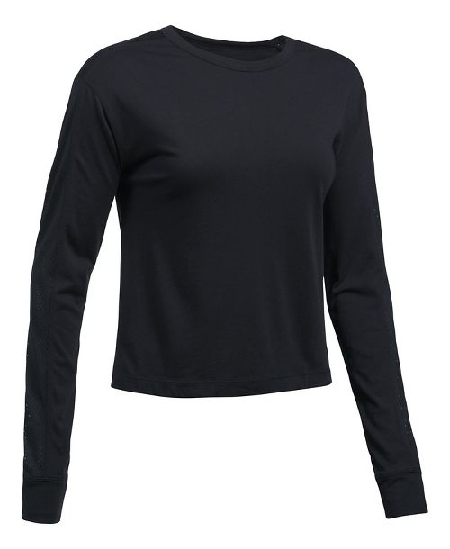 Womens Under Armour Favorite Mesh Graphic Long Sleeve Technical Tops - Black/Graphite XL