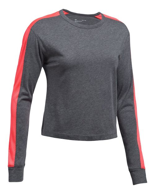 Womens Under Armour Favorite Mesh Graphic Long Sleeve Technical Tops - Carbon Heather/Red S