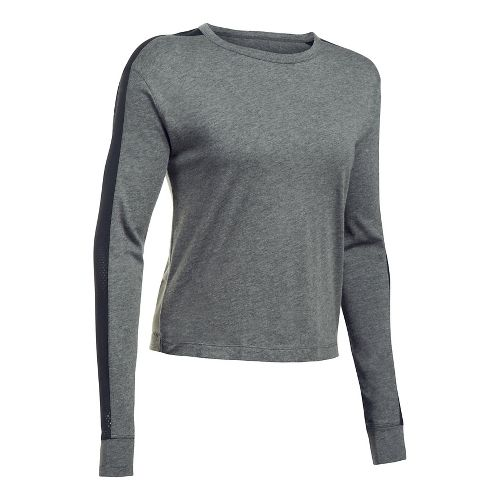 Womens Under Armour Favorite Mesh Graphic Long Sleeve Technical Tops - Carbon Heather/Black M