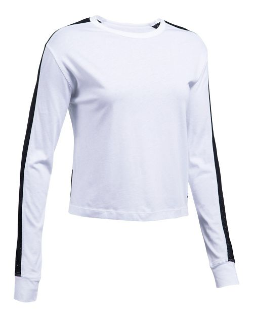 Womens Under Armour Favorite Mesh Graphic Long Sleeve Technical Tops - White/Black S