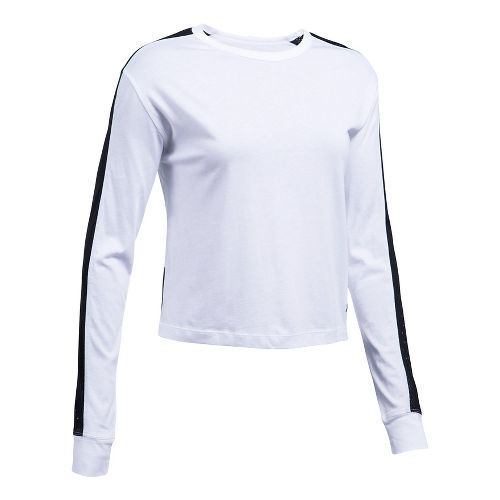 Womens Under Armour Favorite Mesh Graphic Long Sleeve Technical Tops - White/Black M