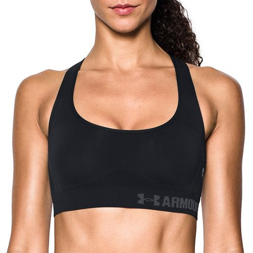 Womens Under Armour Threadborne Crossback Solid Sports Bras - Black L