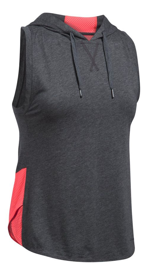 Womens Under Armour Favorite Mesh Hoodie Sleeveless & Tank Tops Technical Tops - Carbon ...