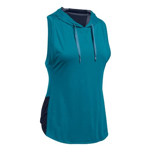 Womens Under Armour Favorite Mesh Hoodie Sleeveless & Tank Tops Technical Tops - Bayou Blue/Navy M