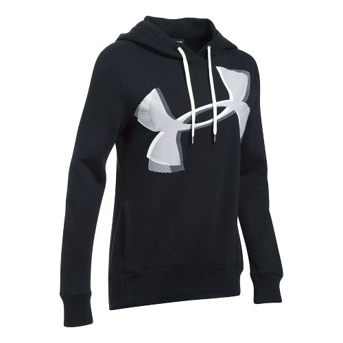 Womens Under Armour Favorite Fleece UA Logo Graphic Half-Zips & Hoodies Technical Tops - ...