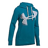 Womens Under Armour Favorite Fleece UA Logo Graphic Half-Zips & Hoodies Technical Tops