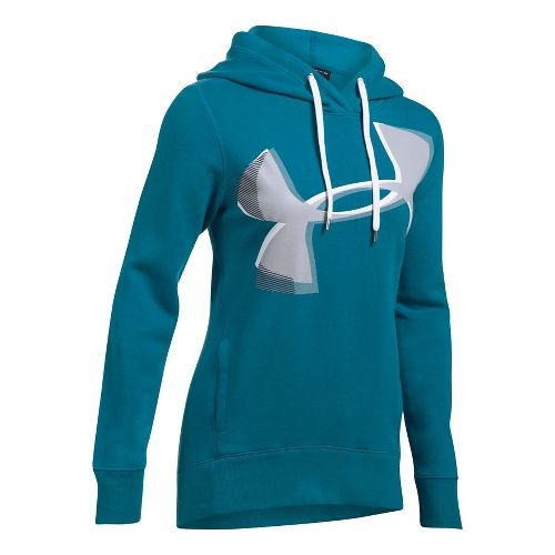 Womens Under Armour Favorite Fleece UA Logo Graphic Half-Zips & Hoodies Technical Tops - Bayou ...