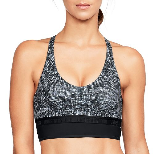 Womens Under Armour Low Mesh Longline Printed Sports Bras - Black XS