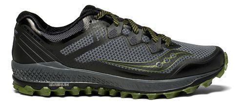 Mens Saucony Peregrine 8 Trail Running Shoe - Grey/Green 13