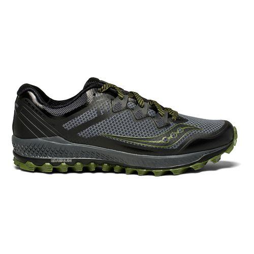 Mens Saucony Peregrine 8 Trail Running Shoe - Grey/Green 10.5