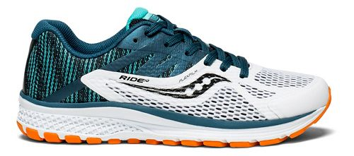 Kids Saucony Ride 10 Running Shoe - Teal/White 2.5Y