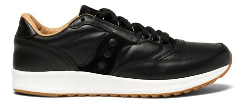 Mens Saucony Freedom Runner Leather Casual Shoe - Black/Tan 8.5