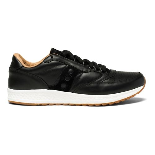 Mens Saucony Freedom Runner Leather Casual Shoe - Black/Tan 10