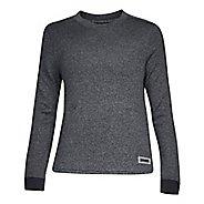 Womens Under Armour Sweater Fleece Crew Long Sleeve Technical Tops - Black Light Heather XS