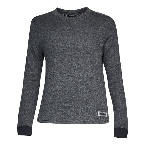Womens Under Armour Sweater Fleece Crew Long Sleeve Technical Tops - Black Light Heather XS
