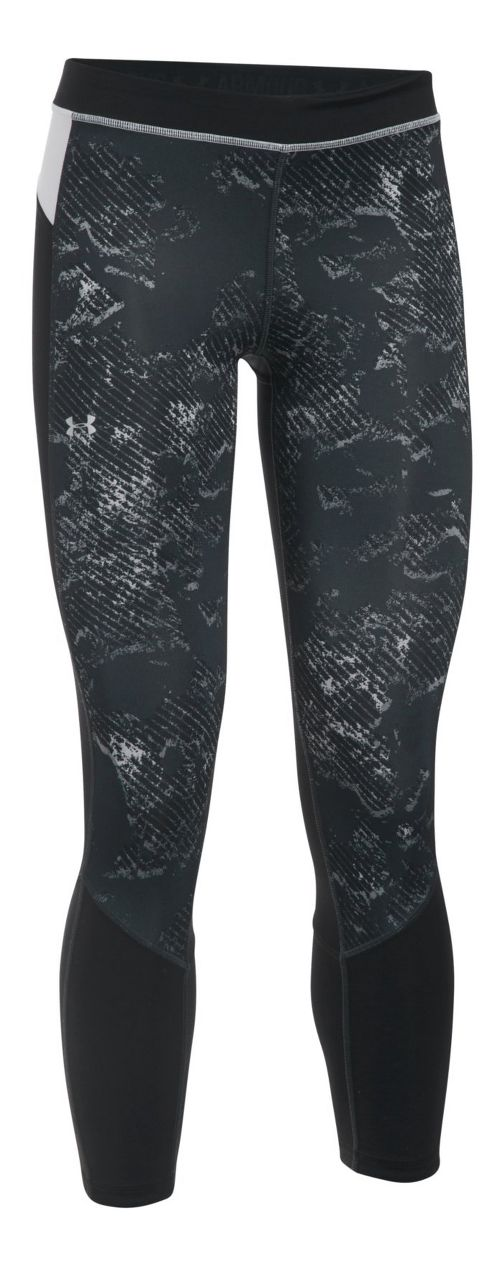 Womens Under Armour HeatGear Reversible Crop Tights - Anthracite/Black L