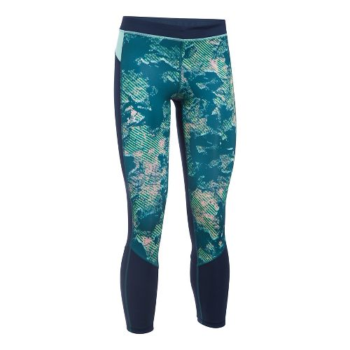 Womens Under Armour HeatGear Reversible Crop Tights - Bayou Blue/Navy XXL