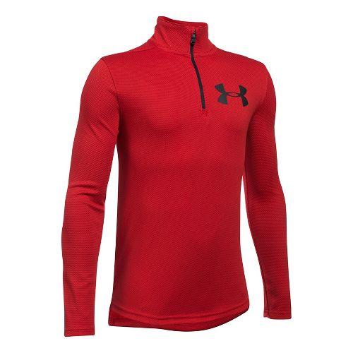 Under Armour Textured Tech 1/4 Zip Half-Zips & Hoodies Technical Tops - Red/Black YXL
